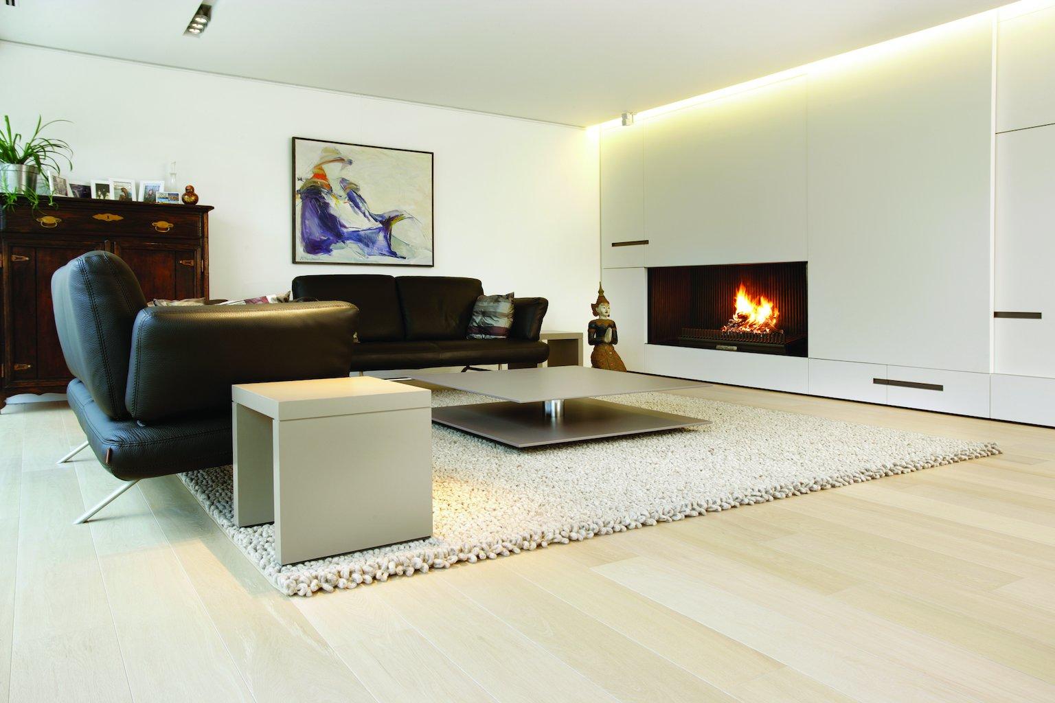 Eiken houten vloer geborsteld in de witte olie cm breed voor